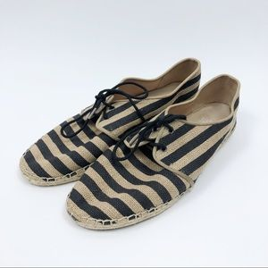Eileen Fisher Black Tan Striped Canvas Espadrilles